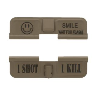AR-15 Dust Cover - Smile! - 1 Shot 1 Kill - Cerakote Flat Dark Earth