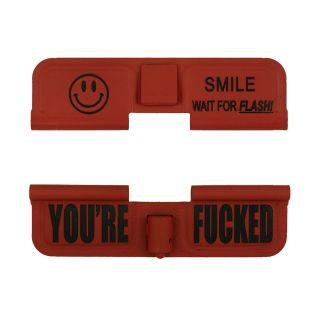 AR-15 Dust Cover - SMILE! - You're Fucked - Cerakote Orange