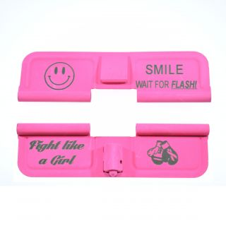 AR-15 Dust Cover - SMILE! - You Fight Like A Girl - Cerakote Pink