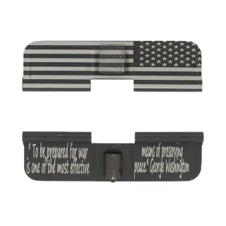 AR-15 Dust Cover - Stars on Right American Flag Wrap - Prepared for War - Phosphate Black