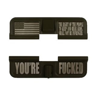 AR-15 Dust Cover - The Right to Bear Arms - You're Fucked - Cerakote Olive Drab Green