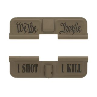 AR-15 Dust Cover - We the People - 1 Shot 1 Kill - Cerakote Flat Dark Earth
