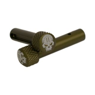 AR-15 Extended Takedown Pins - 2nd Amendment Skull - Anodized Olive Drab Green