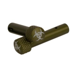 AR-15 Extended Takedown Pins - Biohazard - Anodized Olive Drab Green