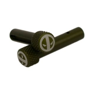 AR-15 Extended Takedown Pins - Deadpool - Anodized Olive Drab Green
