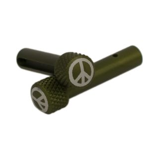 AR-15 Extended Takedown Pins - Peace Sign - Anodized Olive Drab Green