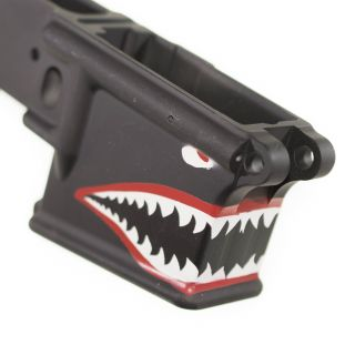 Anderson AR-15 Stripped Lower Receiver - Flying Tigers Shark Teeth (FFL Required) - Cerakote Black