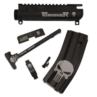 AR-15 Upgrade Bundle - 6 Piece Package - The Punisher - Anodized Black