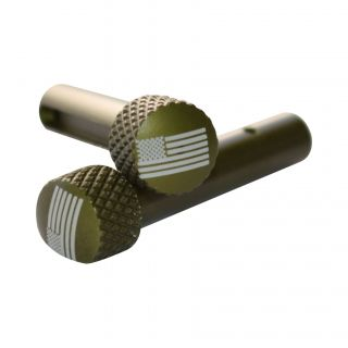 AR-15 Extended Takedown Pins - USA Flag - Anodized Olive Drab Green