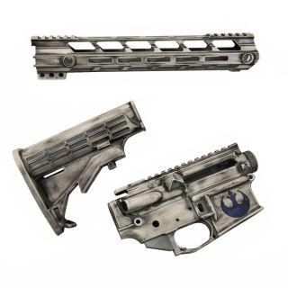 AR-15 Builder Set - Rebel Alliance Blue - Cerakote Distressed White (FFL Required)