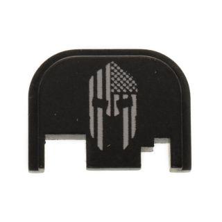 Glock Rear Slide Plate - American Spartan Molon Labe - Anodized Black