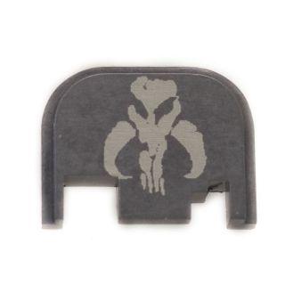 Glock Rear Slide Plate - Mandalorian Skull - Anodized Gray