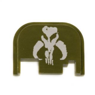 Glock Rear Slide Plate - Mandalorian Skull - Olive Drab Green