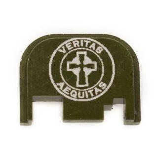 Glock Rear Slide Plate - Veritas Aequitas - Olive Drab Green