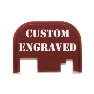 Glock Rear Slide Plate - Custom Engraved - Anodized Red