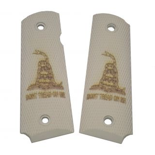 1911 Laser Engraved Grip - Don't Tread On Me - Ivory