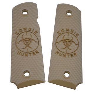 1911 Laser Engraved Grip - Zombie Hunter - Ivory