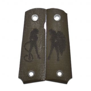 1911 Laser Engraved Grip - Heaven and Hell - Olive Drab Green