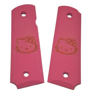 1911 Laser Engraved Grip - Hello Kitty Face - Pink