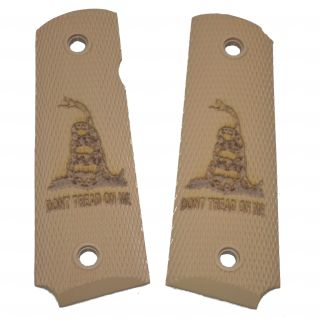 1911 Laser Engraved Grip - Don't Tread On Me - Tan