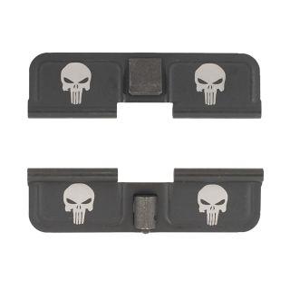 AR-15 Dust Cover - Double Punisher Skulls - Double Image - Phosphate Black