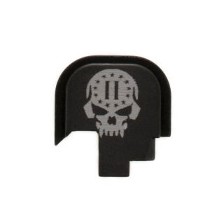 S&W Shield - Rear Slide Plate - 2nd Amendment Skull - Anodized Black