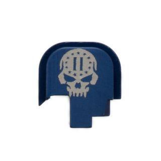 S&W Shield - Rear Slide Plate - 2nd Amendment Skull - Anodized Blue
