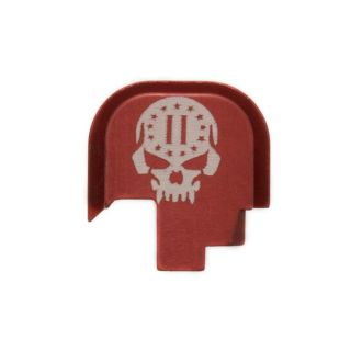 S&W Shield - Rear Slide Plate - 2nd Amendment Skull - Anodized Red