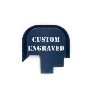 S&W Shield - Rear Slide Plate - Custom Engraved - Anodized Blue