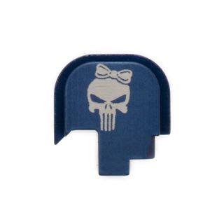 S&W Shield - Rear Slide Plate - Punisher Girl - Anodized Blue