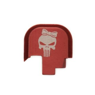 S&W Shield - Rear Slide Plate - Punisher Girl - Anodized Red