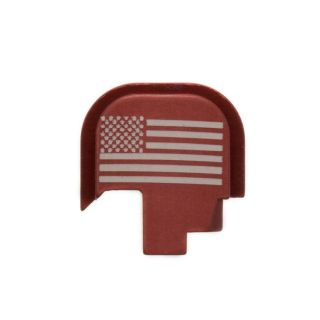 S&W Shield - Rear Slide Plate - USA Flag - Anodized Red