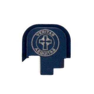 S&W Shield - Rear Slide Plate - Veritas Aequitas - Anodized Blue