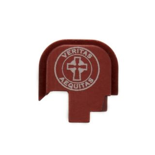 S&W Shield - Rear Slide Plate - Veritas Aequitas - Anodized Red