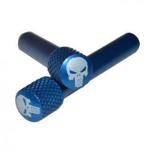 AR-10 Extended Takedown Pin - Punisher Skull - Anodized Blue