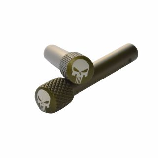 AR-10 Extended Takedown Pin - Punisher Skull - Anodized Olive Drab Green